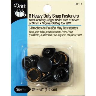 Heavy Duty Snap Fasteners 5/8  6/Pkg - Black
