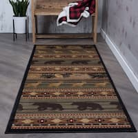 "Alise Natural Green Lodge Runner (2'7 x 7'3) - 2'7"" x 7'3"""
