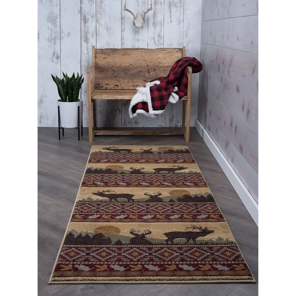 Shop Alise Rugs Natural Lodge Novelty Lodge Runner Rug 2