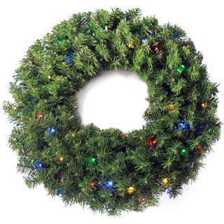 Multi-color LED Light Pine Wreath