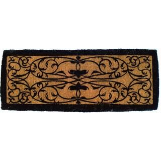 Hand-woven Iron Gate Border Natural Coir Doormat (3' x 6')