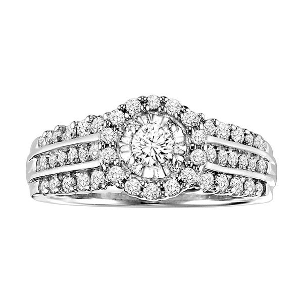 Cambridge Sterling Silver 7/8ct TDW Round Diamond Engagement Ring (I-J, I2-I3)