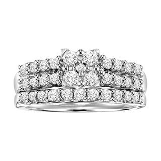 Cambridge Sterling Silver 3/4ct Princess Diamond Bridal Ring Set