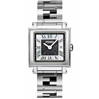 Fendi Quadro Women's Black and White Mother of Pearl Dial Quartz Watch