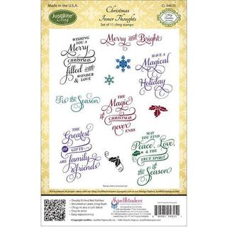 JustRite Stampers Cling Stamp Set - Christmas Inner Thoughts 11pc