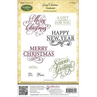 JustRite Stampers Cling Stamp Set - Grand Christmas Sentiments 8pc