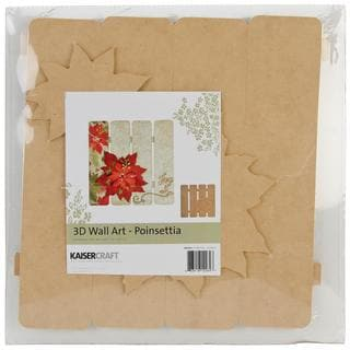 Beyond The Page MDF Poinsettia 3-D Wall Art - 11.5 X11.25 X.5