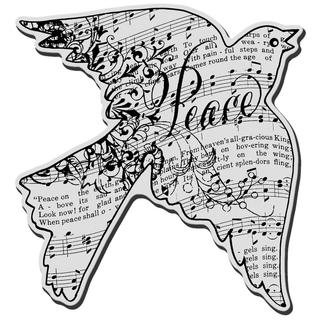 Stampendous Christmas Cling Rubber Stamp - Dove Music