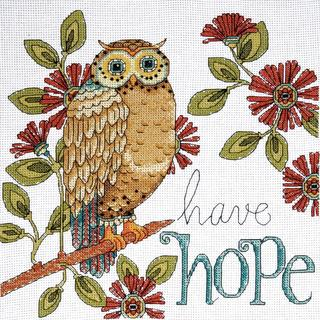 Heartfelt Have Hope Owl Counted Cross Stitch Kit - 10 X10  14 Count