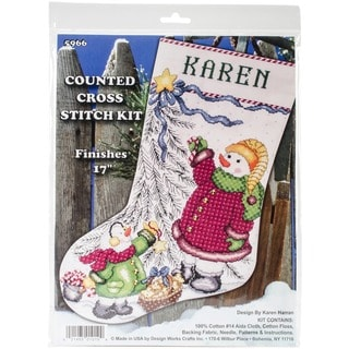 Trim A Tree Snowman Stocking Counted Cross Stitch Kit - 17  Long 14 Count