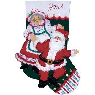 Dancing Claus Stocking Felt Applique Kit - 18  Long
