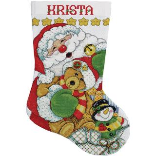 Santa Stocking Counted Cross Stitch Kit - 17 Long 14 Count
