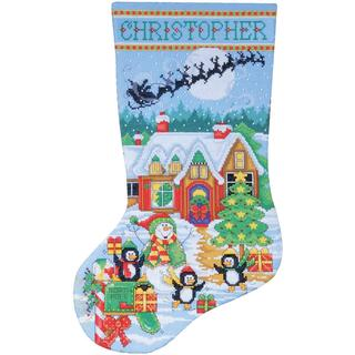Penguin Party Stocking Counted Cross Stitch Kit - 17 Long 14 Count