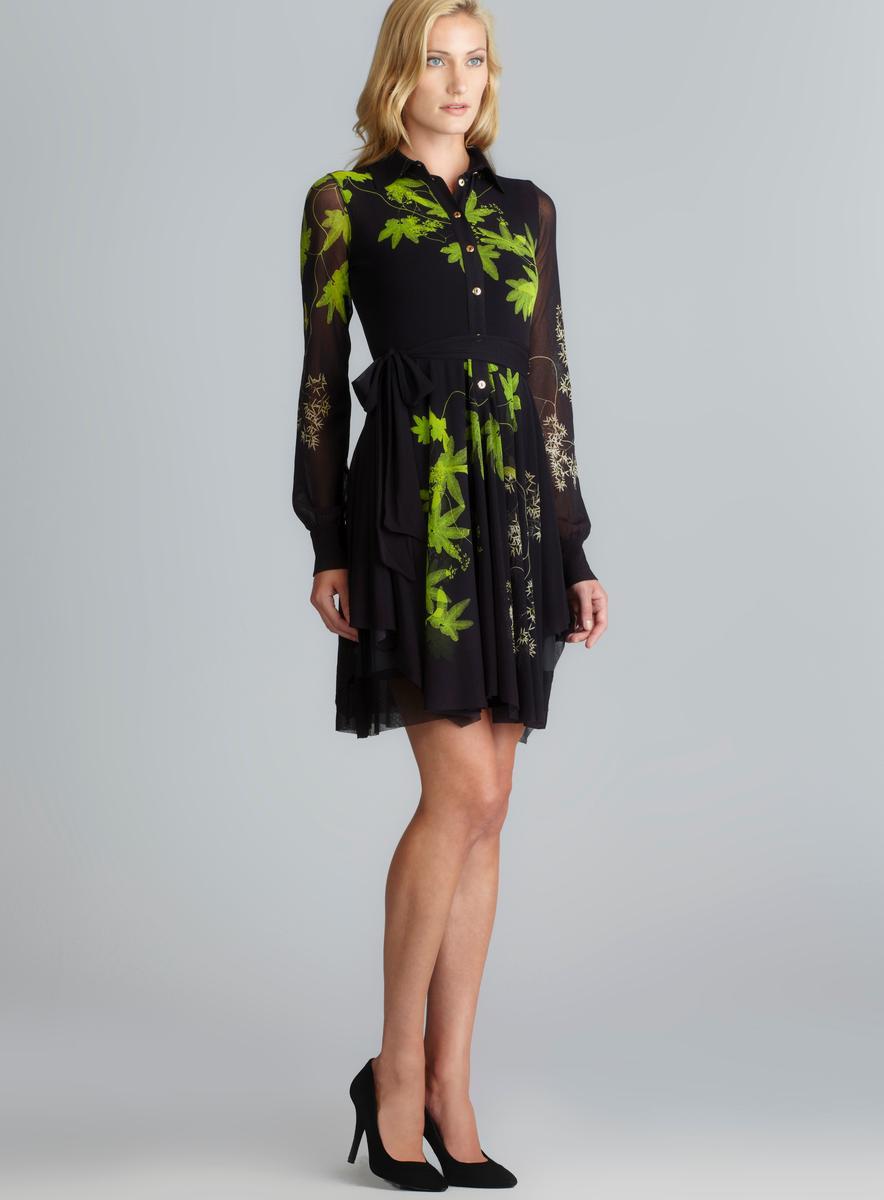 1b5346106c8c2 Fuzzi Long Sleeve Side Tie Button Down Mesh Dress