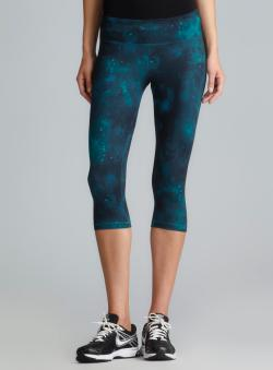 87fbc9987605c2 Marika Tek Green & Blue Galaxy Printed Dry Wik Performance Capri Pants