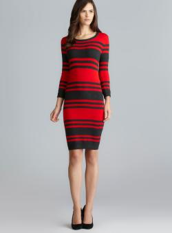 Philosophy Red & Charcoal Striped Sweater Dress
