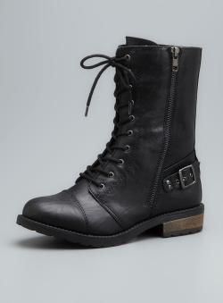 White Mountain Furlough Faux Leather Decorative Zipper Combat ...