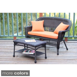 Espresso Wicker Love Seat/Coffee Table Set