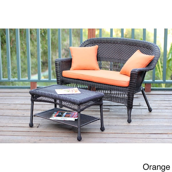 Espresso Wicker Love Seat Coffee Table Set Free Shipping Today