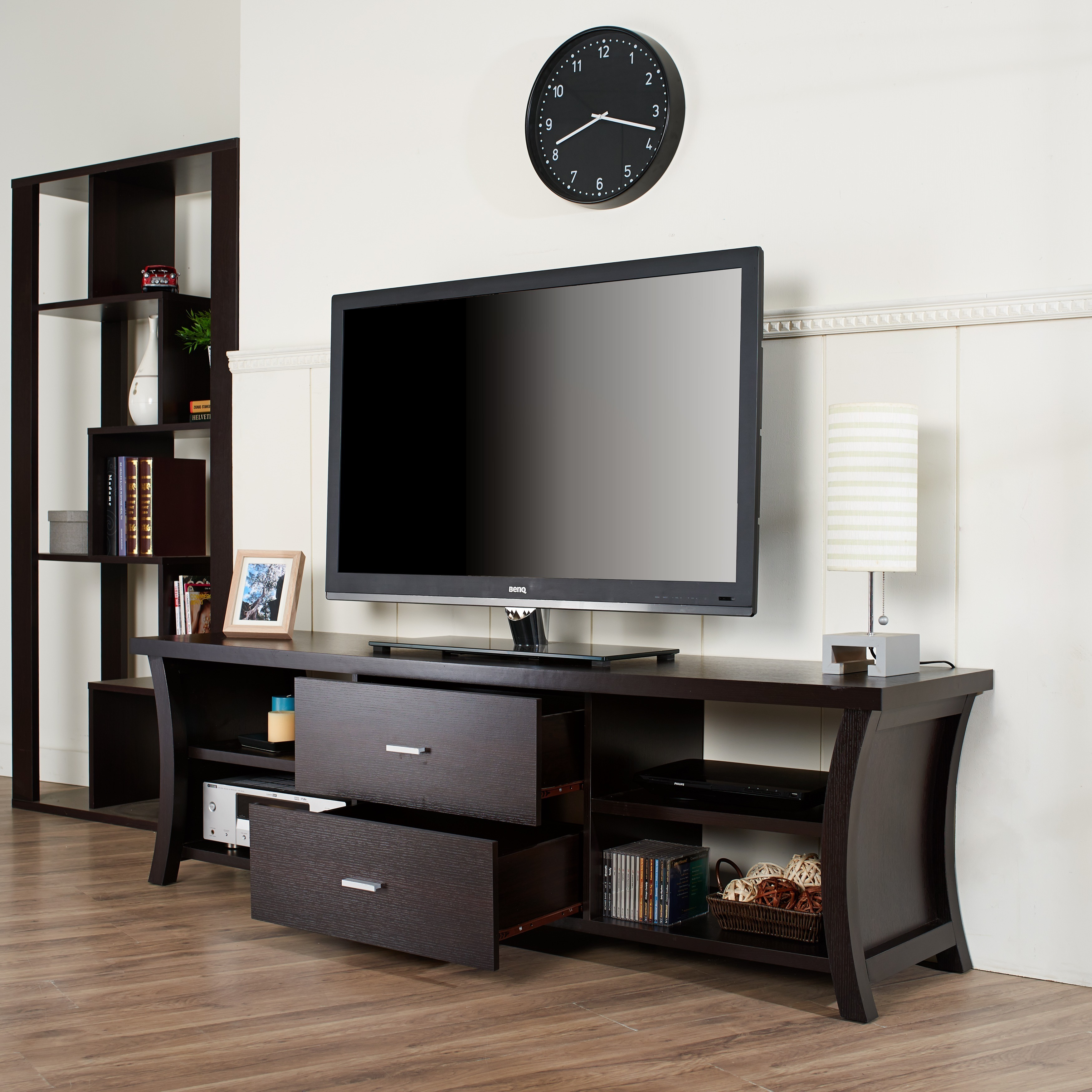 Shop Clay Alder Home Verrazano Modern 2 Drawer TV Stand With Open Shelving    Free Shipping On Orders Over $45   Overstock.com   8385957