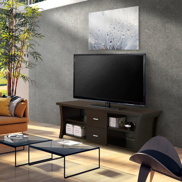 modern 2drawer tv stand with open shelving free shipping today