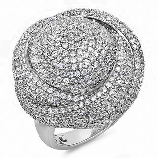 Sterling Silver Cubic Zirconia Swirl Cocktail Ring