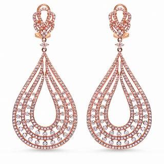 Rose Gold over Sterling Silver Cubic Zirconia Teardrop-shaped Earrings