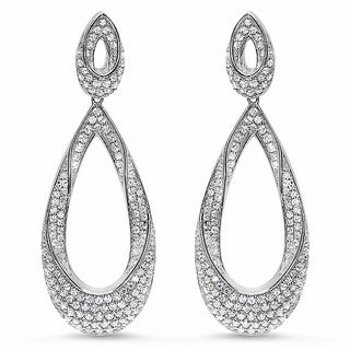 Sterling Silver Cubic Zirconia Open Teardrop Earrings