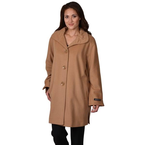 Ellen Tracy Women's Plus Wool Blend Button-up Coat