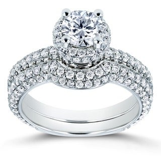 Annello by Kobelli 14k White Gold 2ct TDW Diamond Bridal Set