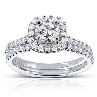 Annello by Kobelli 14k White Gold 7/8ct TDW Halo Round Diamond Bridal Set