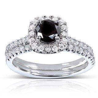 Annello by Kobelli 14k White Gold 7/8ct TDW Black and White Halo Diamond Bridal Set
