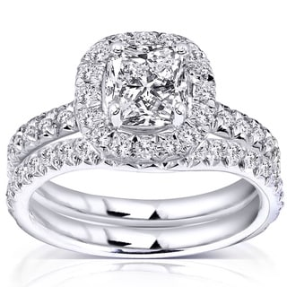 Annello by Kobelli 14k White Gold 1 5/8ct TDW Cushion and Round Halo Diamond Bridal Set (