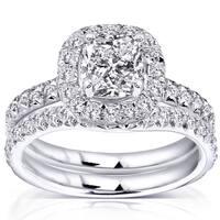 Annello by Kobelli 14k White Gold 1 5/8ct TDW Diamond Bridal Set