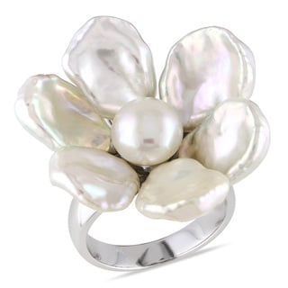 Miadora Sterling Silver White Pearl Flower Ring (9-10 mm)