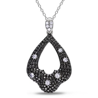 M by Miadora Black Rhodium-plated Silver Created White Sapphire Necklace