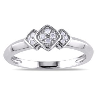 Miadora Sterling Silver Geometric Diamond Ring