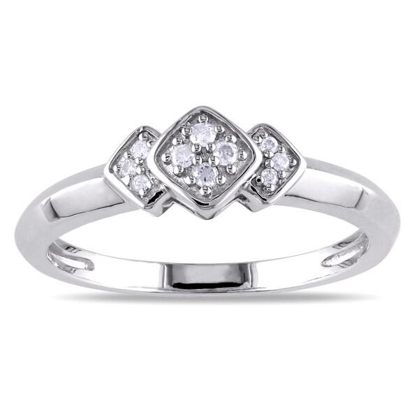 Miadora Sterling Silver Geometric Diamond Ring (H-I, I2-I3)