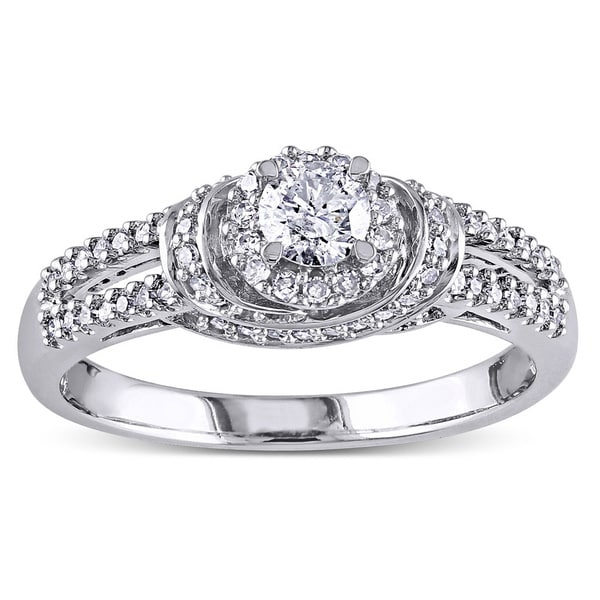 Miadora 14k White Gold 1/2ct TDW Diamond Engagement Ring