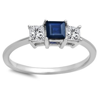 Elora 14k White Gold 1ct TDW Princess Cut Blue Sapphire and White Diamond Ring