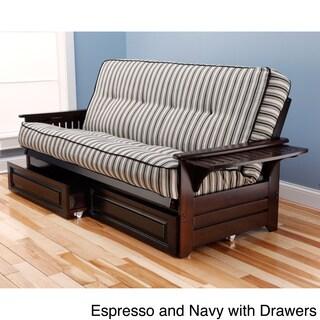 somette ali phonics multi flex espresso full size wood frame and polyester innerspring mattress futon set furniture for less   overstock    rh   overstock