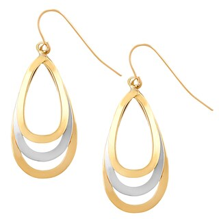 Fremada 14k Two-tone Gold Triple Teardrop Dangle Earrings