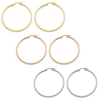 Fremada 14k Gold Diamond-cut Hoop Earrings (40 mm)