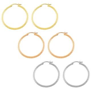 Fremada 14k Gold Diamond-cut Hoop Earrings (30 mm)