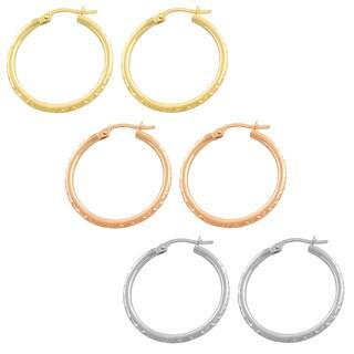 Fremada 14k Gold Diamond-cut Hoop Earrings (25 mm)