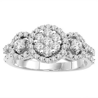 14k White Gold 1ct TDW Halo Three Stone Diamond Ring
