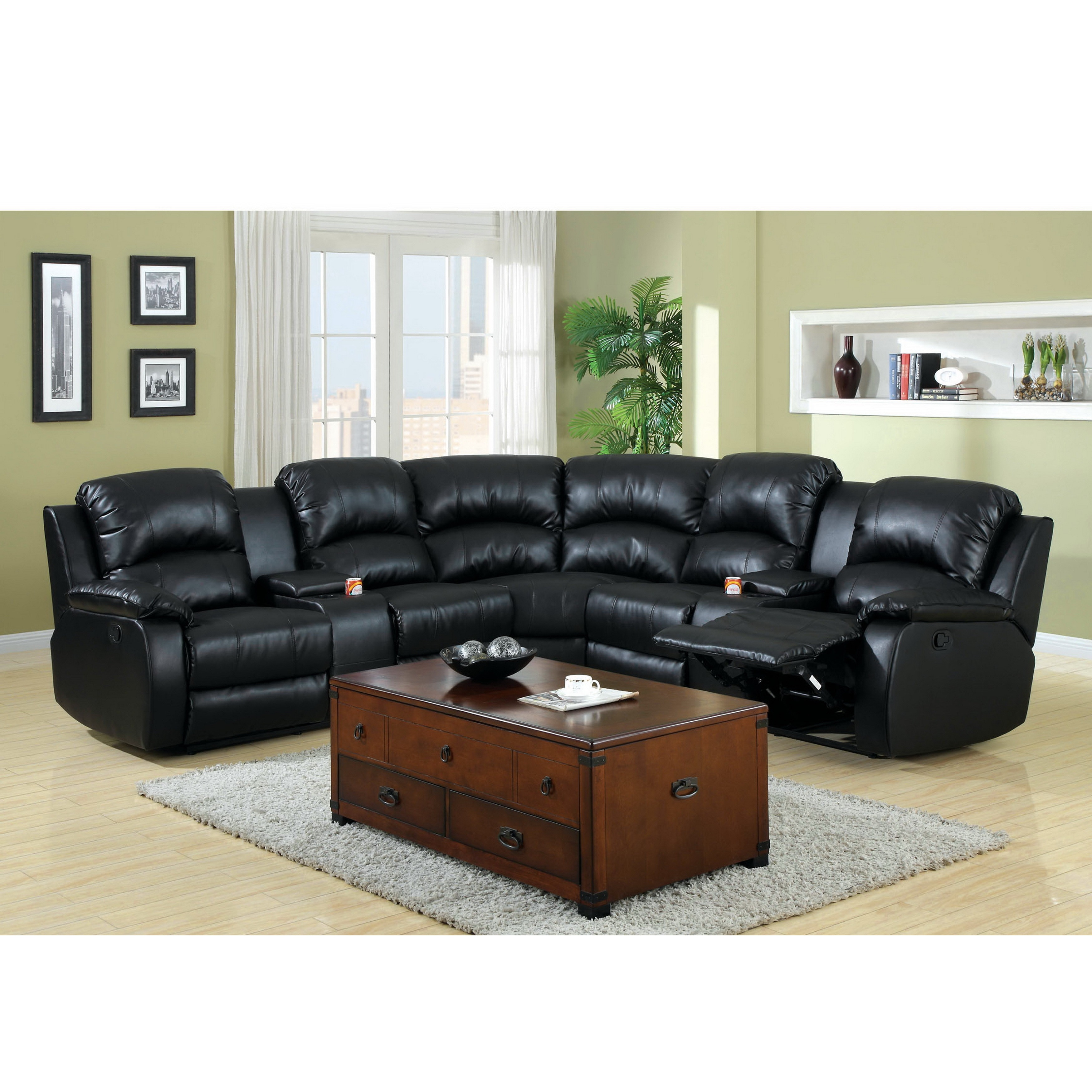 Furniture of America Amerlie Black Leather Reclining Sect...