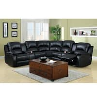 Furniture of America Amerlie Black Leather Reclining Sectinal