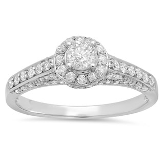 Elora 14k White Gold 1ct TDW Round Cut Halo Diamond Engagement Ring
