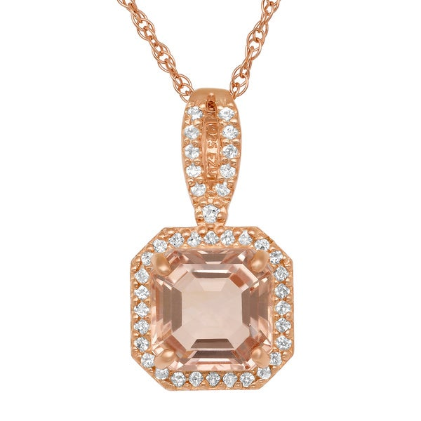 Gioelli Rose Gold/ Silver Simulated Morganite and Created Sapphire Necklace - Yellow. Opens flyout.